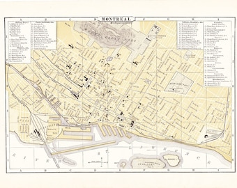 1903 City Map Montreal Quebec Canada - Vintage Antique Map Great for Framing 100 Years Old
