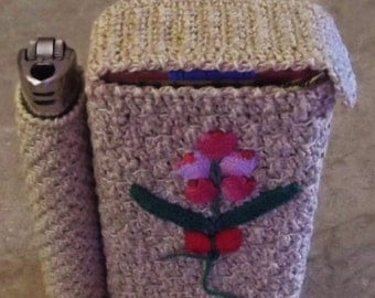 Bonnie's OOAK Crochet Item | Cotton Thread item | Gold/Yellow | Smokes & Lighter Case | Standard Size | OOAK