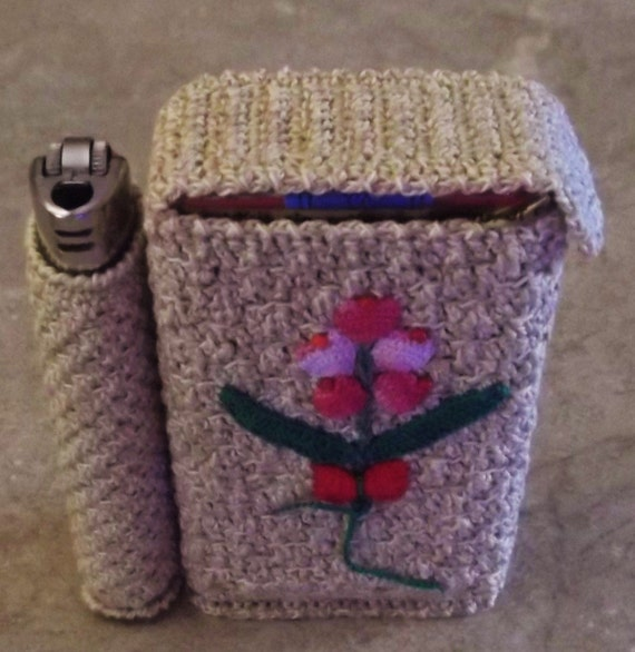 Free Crochet Pattern For Cigarette Case : crochet cig and lighter holder by cyicrochet on Etsy