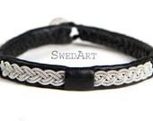 SwedArt B11 Wolf Lapland Reindeer Leather Bracelet with Antler Button Black X-SMALL