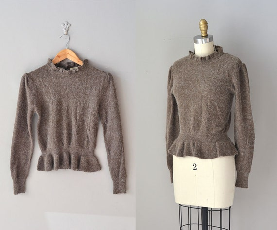 1970s mohair sweater / peplum sweater / Sugar & Cocoa sweater