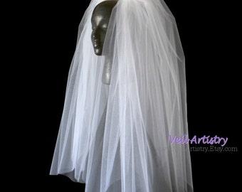 Wedding Veil, Bouffant Classic Veil, 3-Tier Veil, Waist/Elbow Length Veil, Cut Edge  Veil, Handmade Veil, Custom Veil, Vintage Inspired Veil