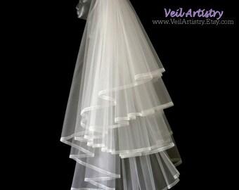 Short Bridal Veil, Radiance Veil, Fingertip Veil, 4 Tier Veil, Multi Tier Veil, Sheer Ribbon Veil, Boho Veil, Handmade Veil, Bespoke Veil