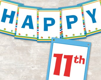 """Pool / Swim Birthday Party Pennant Banner (""""Happy 1st Birthday"""") PRINT & SHIP >> personalized and shipped to you 