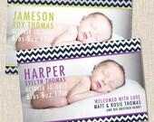 Chevron Custom Baby Birth Announcement Card - JAMESON