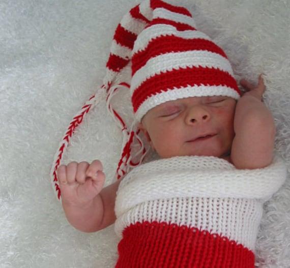 Santa baby  hat , Crochet Newborn Stocking Elf Hat , Crochet Infant Photo Prop, 0 m,3m,6m,12m, custom order, Munchkin Pixie Beanie