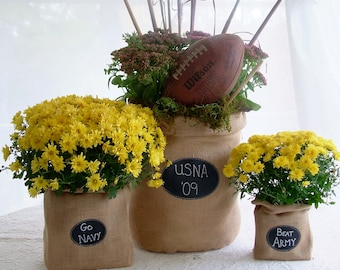 Set of 3 Burlap Bags with Re-Useable Chalkboard Labels, 1 of Each of 3 Sizes for Event Décor or Seasonal Displays