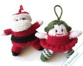 PDF Download Knitting Pattern for Santa and Christmas Fairy.