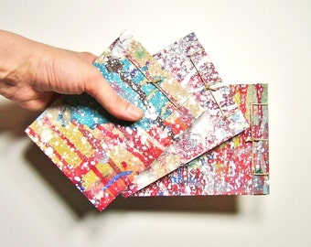 Recycled Mini Sketchbooks, Set of Three Multicolored - Stab Bound