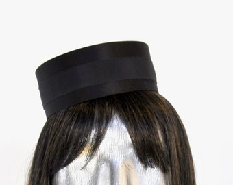 Pillbox Hat in Black- Classic Cigarette Girl Costume - Usher or Bellhop Gold or Silver trim available