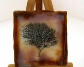Tiny miniature beeswax encaustic tree collage painting