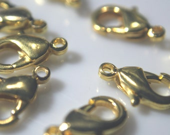 Gold Lobster Clasp 12x7mmm Medium Gold Plated Connector Lobster Claw Finding choice of retail or wholesale pricing