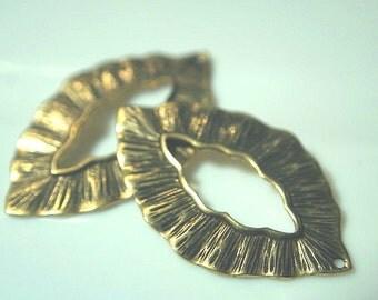 Art Nouveau Flowing Leaf Pendant pendant clasp antiqued gold over BRASS
