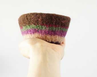 felted wool striped bowl -browns, purples, and greens - ring holder, gifts under 20, minimalist and simple