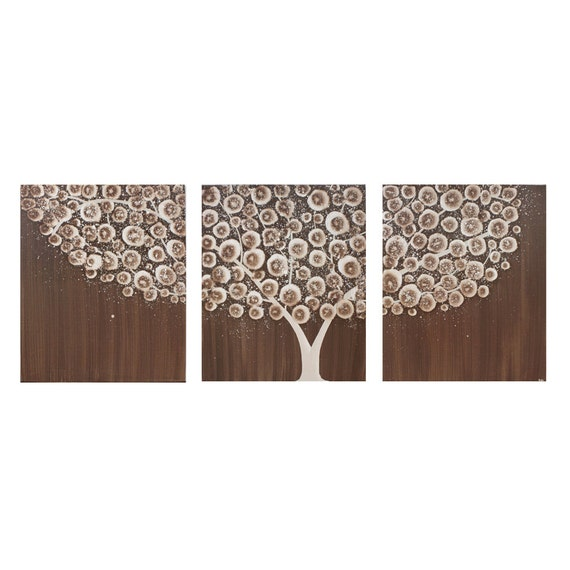 Original Acrylic Painting - Triptych Tree Art on Canvas - Brown Wall Art Decor - Large 50x20