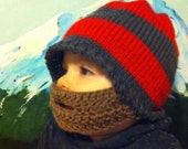 Scarlet and Grey Beard Beanie 12-24 months - Ships Free