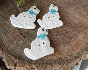 Cat buttons Ceramic Hand painted ceramic  white cat buttons x 3 - hand made kittys