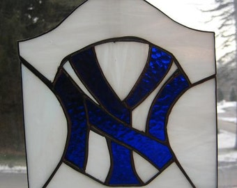 Stained Glass Yankees Plaque
