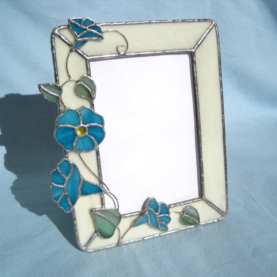 morning glories stained glass picture frame. Black Bedroom Furniture Sets. Home Design Ideas