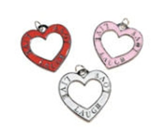 Heart Enamel Colored Charms Set - Live Laugh Love | Jewelry Charms | Embellishments
