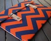 13 MacBook Case / 11 MacBook Air Case / 13 MacBook Pro Case / 15 Macbook Pro Cover / 13 Macbook Pro Retina - Chevron Navy Blue and Orange
