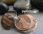 Lucky Us Copper Keychain with two lucky pennies, Lucky Penny keychain, Anniversary gift,7th wedding Anniversary,Traditional anniversary gift