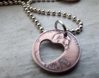 Heart Lucky Penny Drop Pendant, Lucky penny Pendant, Bff gift, Lucky charm pendant, Lucky charm gift