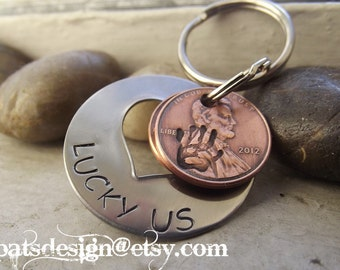 New Lucky Us Open Heart stainless steel Keychain with ONE lucky pennies