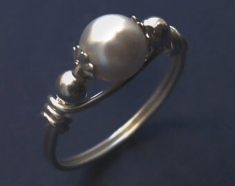 Sterling Silver Wire Wrapped White Swarovski Pearl Ring