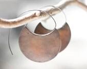 Large copper tribal earrings, blade earrings, silver, copper hoops