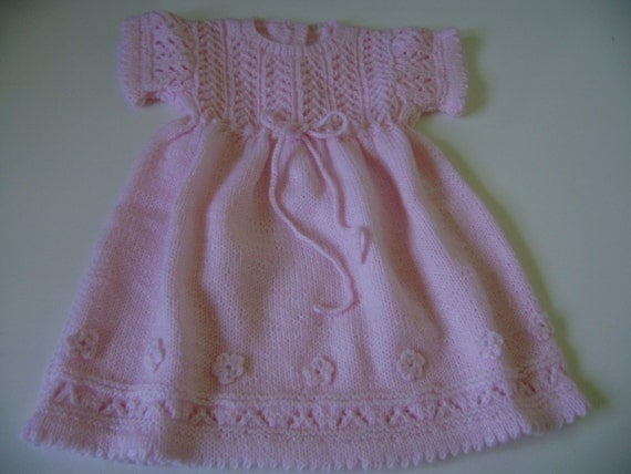 ON SALE Knitted  Baby Girl  Dress 3 to 9 Months Antiallergic Yarn