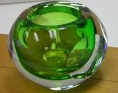 Hand Blown Green Glass Ball Vintage Polished Pontil Votive Holder Sphere Globe
