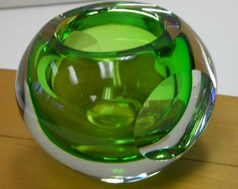Hand Blown Green Glass Ball Vintage Polished Pontil Votive Holder Sphere Globe