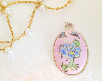 Vintage Light Pink Oval Ceramic Painted Pendant. Blue Flower. Butterfly. Oval Pendant. Silver. Floral. Whimsical. Summer. Garden. 1970s.
