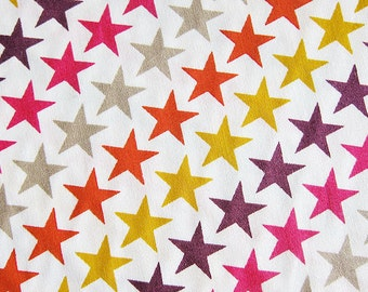 FREE SHIPPING Colorful Stars Fabric in White - Kawaii Cotton Fabric - Yellow Stars, Red Stars (F051) - Fat Quarter