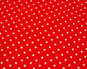 SALE Japanese Polka Dot Fabric - Perfect Red Polka Dots - Half Yard