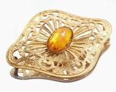 Art Nouveau Brooch Large Antique Topaz Glass Stone  Antique Broach Pin