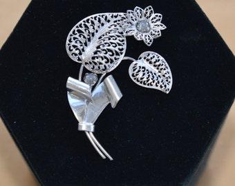 Pretty Vintage Filigree Floral Brooch, Silvertone, Rhinestone