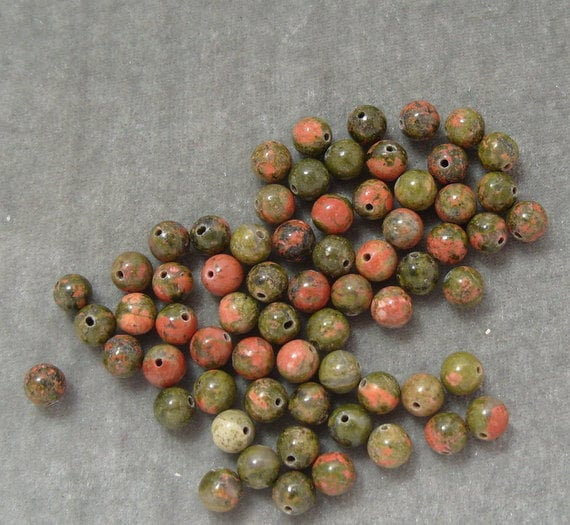 Full Strand 6mm Round Unakite Gemstones (72)