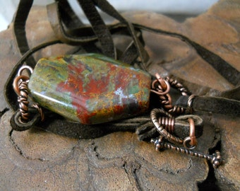 Stone, Copper and Leather Suede Neckace, Rustic Jasper Pendant, Twisted Copper, Natural Organic Necklace