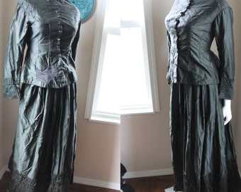 Antique Dress 1883 Historical Victorian Skirt and Jacket Silk Glass Buttons Bustle Back