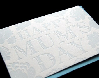 Happy Mum's Day - 4bar Letterpressed Card and Envelope