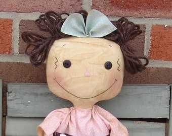 Primitive Raggedy Doll with Pink Kitty cat Pattern, pink and brown raggedy doll, kitty pattern, cloth doll pattern, HFTH162