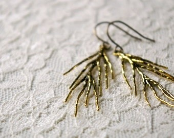 Branch earrings. Oxidized gold plated brass charms on bronze ear wires.