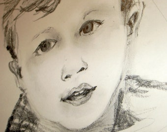 Two Portraits of children - from photos - pencil drawings