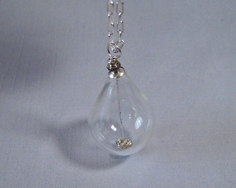 SALE - Crystal Teardrop Necklace - Handmade Glass Teardrop on Sterling Silver Chain (N-184)