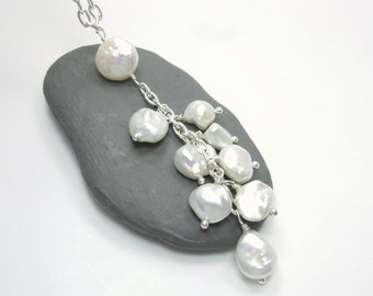 Pearl Necklace - Coin Keshi Nugget Pearl Necklace - Long Layer Necklace - White Pearl Charm Necklace