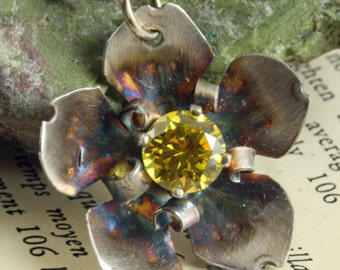 Sterling Silver Flower - Yellow Gemstone - Citrine CZ - Sterling Jewelry - Silver Flower - Handmade Pendant - Yellow CZ - Flower Necklace