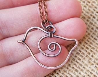 Bird Necklace. Copper. Oxidized. Wire Jewelry.
