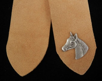 Pewter Horsehead Leather Bookmark